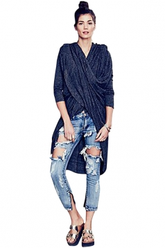Womens Plain Long Sleeve Loose Maxi Knitted Cardigan Navy Blue