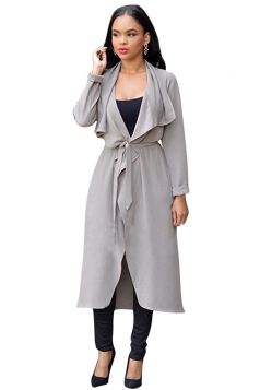Womens Plain Long Sleeve Loose Irregular Placket Cardigan Gray