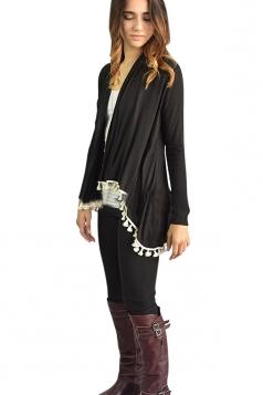Womens Stylish Collarless Long Sleeve Tassel Hem Cardigan Black