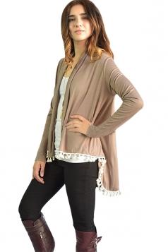Womens Stylish Collarless Long Sleeve Tassel Hem Cardigan Khaki
