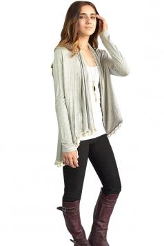 Womens Stylish Collarless Long Sleeve Tassel Hem Cardigan Light Gray