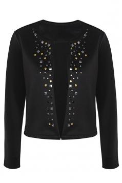 Womens Stylish Long Sleeve Rivets Cardigan Jacket Black