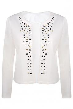 Womens Stylish Long Sleeve Rivets Cardigan Jacket Beige White