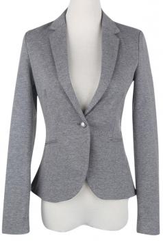 Womens Plain Turndown Collar Long Sleeve Slim Blazer Light Gray