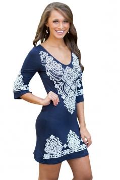 Womens Cashew Flower Print Round Neck Elastic Bodycon Dress Blue