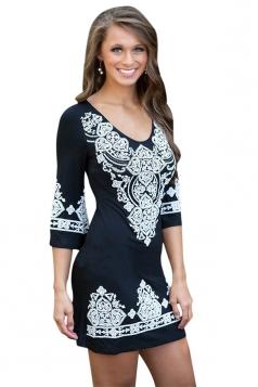 Womens Cashew Flower Print Round Neck Elastic Bodycon Dress Black