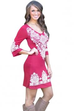 Womens Cashew Flower Print Round Neck Elastic Bodycon Dress Red