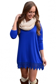 Womens Plain Crew Neck Long Sleeve Lace Patchwork Dress Blue