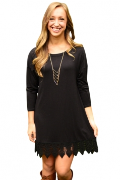 Womens Plain Crew Neck Long Sleeve Lace Patchwork Dress Black