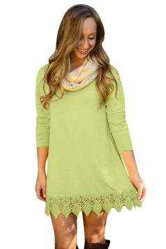 Womens Plain Crew Neck Long Sleeve Lace Patchwork Dress Green
