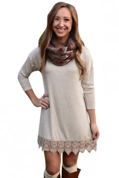 Womens Plain Crew Neck Long Sleeve Lace Patchwork Dress Light Gray