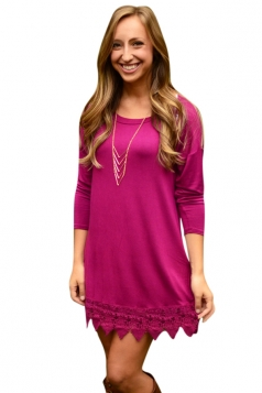 Womens Plain Crew Neck Long Sleeve Lace Patchwork Dress Rose Red