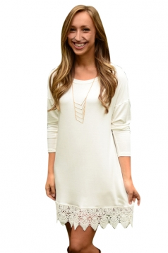 Womens Plain Crew Neck Long Sleeve Lace Patchwork Dress White