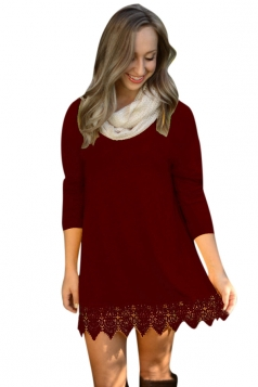 Womens Plain Crew Neck Long Sleeve Lace Patchwork Dress Ruby
