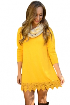Womens Plain Crew Neck Long Sleeve Lace Patchwork Dress Yellow