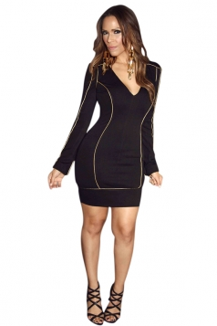 Womens Sexy Deep V Neck Long Sleeve Bodycon Dress Black