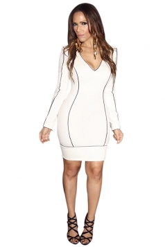 Womens Sexy Deep V Neck Long Sleeve Bodycon Dress White