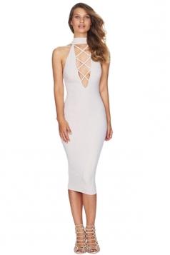 Womens Sexy Plain Deep V Neck Lace Up Bodycon Dress White