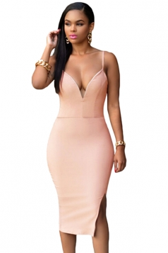Womens Sexy Plain Sleeveless Slit Spaghetti Straps Midi Dress Pink