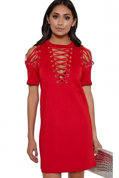 Womens Sexy Plain Short Sleeve Lace Up Shift Dress Red