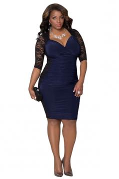 Womens Sexy Deep V Neck Sheer Lace Patchwork Clubwear Dress Blue