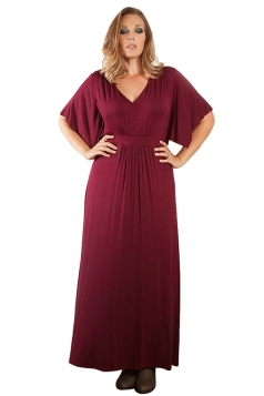 Womens Sexy Plain V Neck Short Sleeve Plus Size Dress Ruby