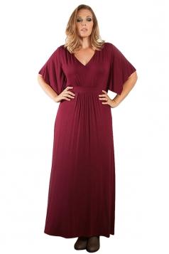 Womens Sexy Plain V Neck Short Sleeve Plus Size Dress Ruby