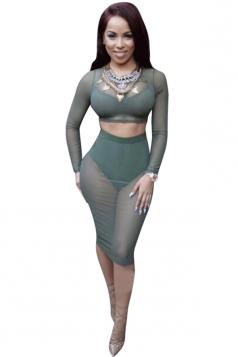 Womens Long Sleeve Sheer Mesh Lace Up Back Crop Top & Skirt Green