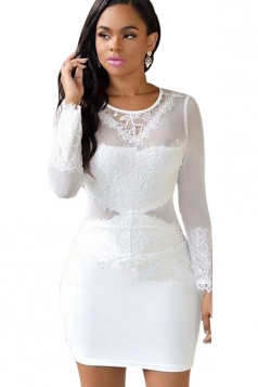 Womens Long Sleeve See Through Mesh Patchwork Lace Bodycon Dress White