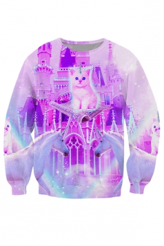 Womens Crewneck Kitty Land Sweatshirt Pink