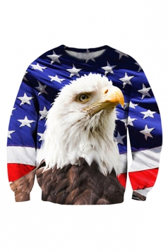 Womens American Flag Bald Eagle Printed Sweatshirt Blue