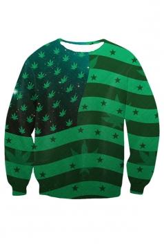 Womens United States of Marijuana Crewneck Sweatshirt Green