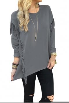 Womens Crew Neck Long Sleeve Fringe Slit Side Pullover Sweatshirt Gray