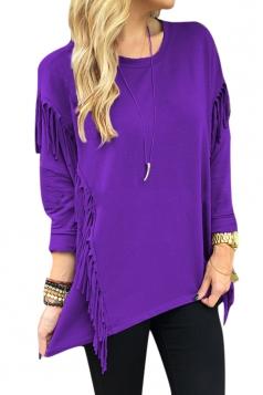 Womens Crew Neck Long Sleeve Fringe Slit Side Sweatshirt Purple