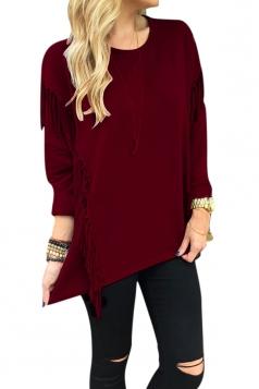 Womens Crew Neck Long Sleeve Fringe Slit Side Sweatshirt Ruby
