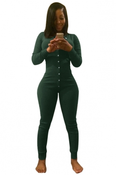 Womens Long Sleeve Deep V Neck Single-breasted Jumpsuit Green