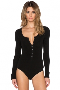 Womens Deep Scoop Neckline Long Sleeve Single-breasted Bodysuit Black