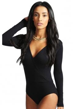 Womens Sexy Deep V Neck Cross Long Sleeve Elastic Bodysuit Black