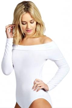 Womens Plain Boat Neck Off Shoulder Long Sleeve Elastic Bodysuit White