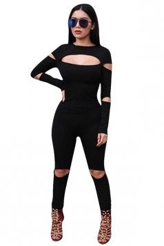 Womens Plain Crew Neck Long Sleeve Zipper Back Cut Out Jumpsuit Black