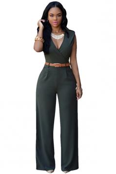 Womens Plain Sleeveless Deep V Neck Belt Jumpsuit Deep Green