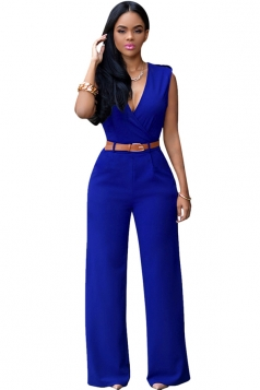 Womens Plain Sleeveless Deep V Neck Belt Jumpsuit Sapphire Blue