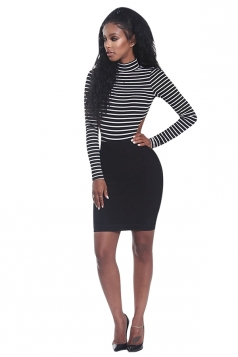 Womens High Collar Long Sleeve Striped Backless Bodysuit Black