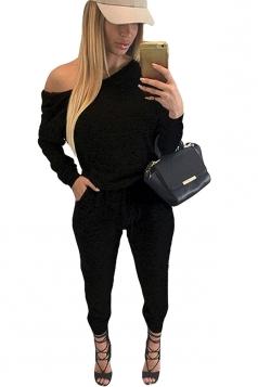 Womens Stylish Oblique Shoulder Tie-waisted Loose Jumpsuit Black
