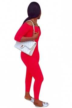 Womens Plain Off Shoulder 3/4 Length Sleeve Jumpsuit Red