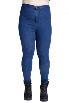 Womens Plus Size High Waist Elastic Denim Leggings Blue