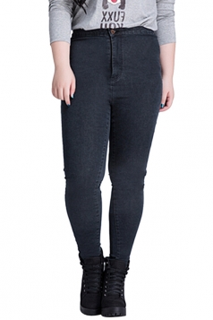 Womens Plus Size High Waist Elastic Denim Leggings Black