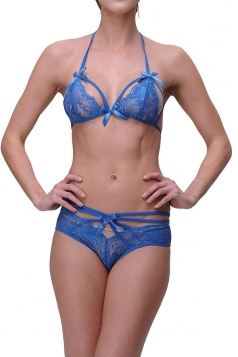 Womens Sexy Bowknot Trim Crochet Floral Bra and Lace Panty Sets Blue
