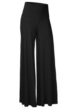Womens Stylish Plain Wide Leg Palazzo Pants Black