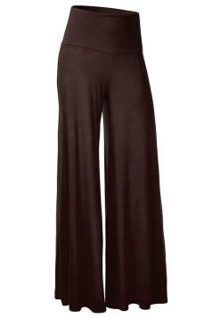 Womens Stylish Plain Wide Leg Palazzo Pants Brown